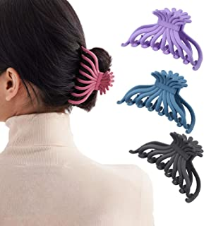 Large Hair Claw Clip for Women - 3.5 Inch Rubber Nonslip Hair Clips Strong Hold Hair Catch Barrette Jaw Clamp for Thick/Th...