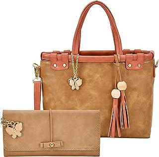 Butterflies Women Hand Bag With Wallet Combo (Beige,Rust) (BNS WB0744) (Set of 2)
