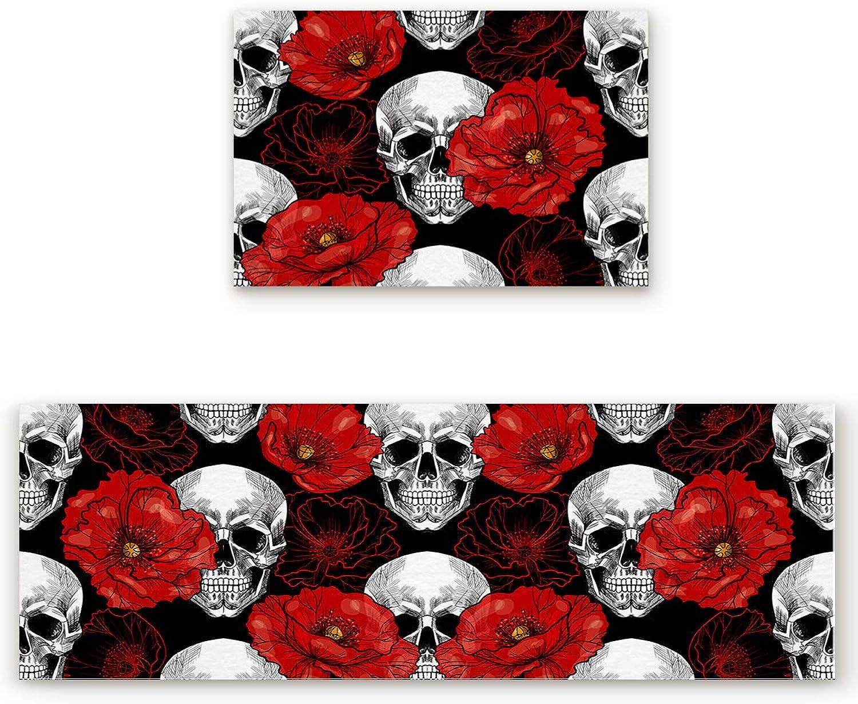 Savannan 2 Piece Non-Slip Kitchen Bathroom Entrance Mat Absorbent Durable Floor Doormat Runner Rug Set - Cool Skull with Red Flower