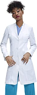 Women's Lab Coat, Tailored Fit, Fold Back Cuff, White, 35 inch Length