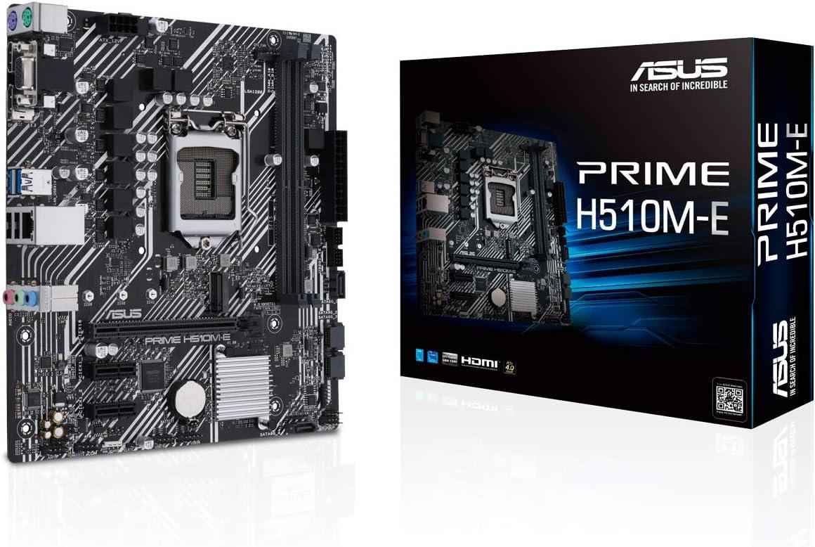 ASUS PRIME H510M-E - Placa base micro-ATX Intel H510 LGA 1200 (PCIe 4.0, Ranura M.2 de 32 GPS, 1 GB Ethernet, USB 3.2 Gen. 1 de tipo A, SATA 6 GPS, puerto COM y conector RGB)