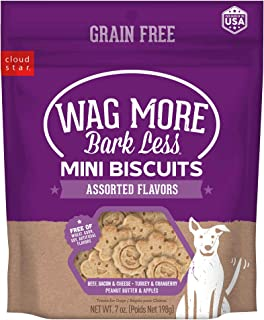 Cloud Star Wag More Bark Less Grain Free Mini Biscuits, Bite Sized Crunchy Dog Treats, 7oz Bag