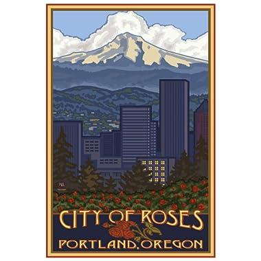 Portland Oregon Skyline Giclee Art Print Poster from Original Travel Artwork by Artist Paul A. Lanquist 12  x 18