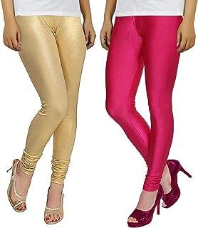 68d871e607f20 Bhetvastu Combo of Women's Lycra Shining Leggings (BV05, Pink and Golden, XL )