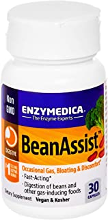 Enzymedica, BeanAssist, Rapid Response Enzyme Support to Help Relieve Occasional Gas, Bloating, and Discomfort, 30 Capsules