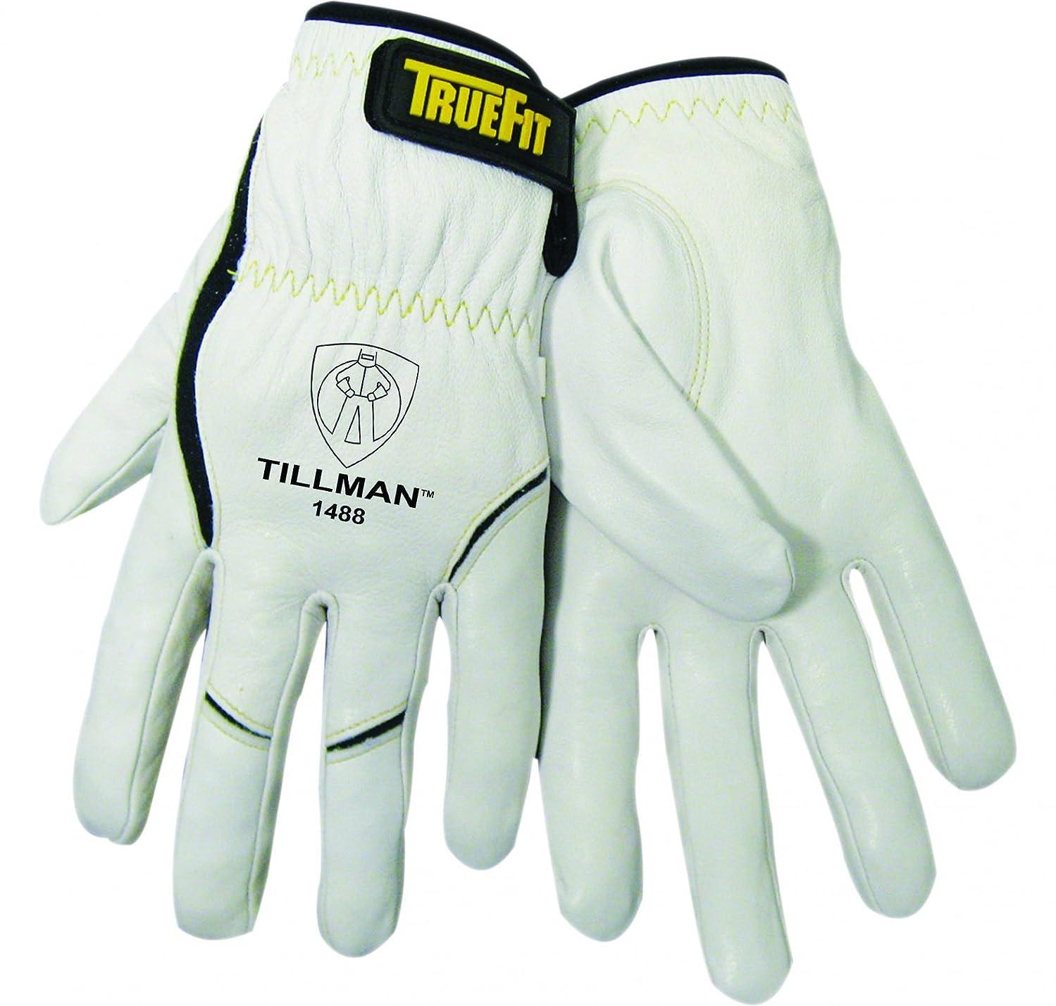 John Tillman 1488 XL True Fit X-Large Top Grain Kevlar/Goatskin Super Premium Grade TIG Welders' Glove, Elastic Cuff, V Design Thumb/Hook/Loop Closure, English, 30.68 fl. oz, Plastic, 1 x 11.2 x 4.4