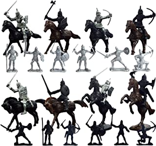 Knights Toys, Knights Figures 28pcs Plastic Medieval Knights Horses Soldier Military Action Figures Model Toys Playset for Boy Children Kids Gifts