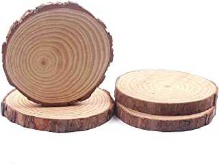 Natural Wood Slices, Round Basswood Slabs, 8 to 9inches, Rustic Tree Bark Slice, Weathered Log Disc, Outdoor Country Barn Wedding Table Centerpiece, (4 Pack)