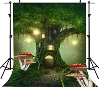 Sensfun 5x7ft Fairytale Tree House Photo Booth Background Wonderland Green Enchanted Fairy Forest Backdrop Cartoon Kids Birthday Party Decorations Studio Photography Props