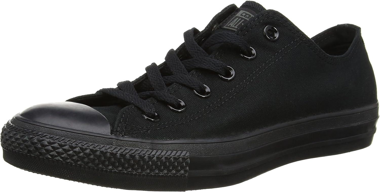 Converse Unisex Chuck Taylor All Star Low Top Sneakers (9.5 Men 11.5 Women, Black Monochrome)