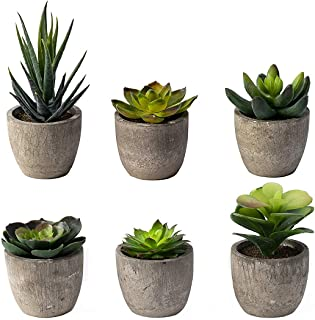 6 Pots Small Artificial Succulent Plants Mini Fake Faux...