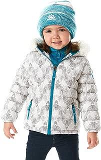 Snozu Girl's Hypoallergenic Puffy Down Jacket with Beanie White Mosaic