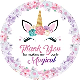 Rebanah Magical Unicorn Thank You Stickers- Unicorn Thank You Stickers for Kids-Unicorn Party Supplies Birthday Party Favor Tags Decor 48 Pack