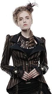 Women's Steampunk Victorian Vintage Blazer Gothic Sharp Shoulder Coffee Stripe Jacket Coat Holloween Costume
