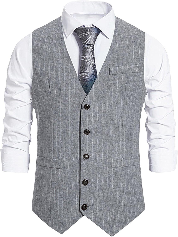 XUNFUN Men's Business Formal Suit Vests Herringbone V Neck Slim Fit Stripe Dress Waistcoat with 3 Pockets for Suit or Tuxedo