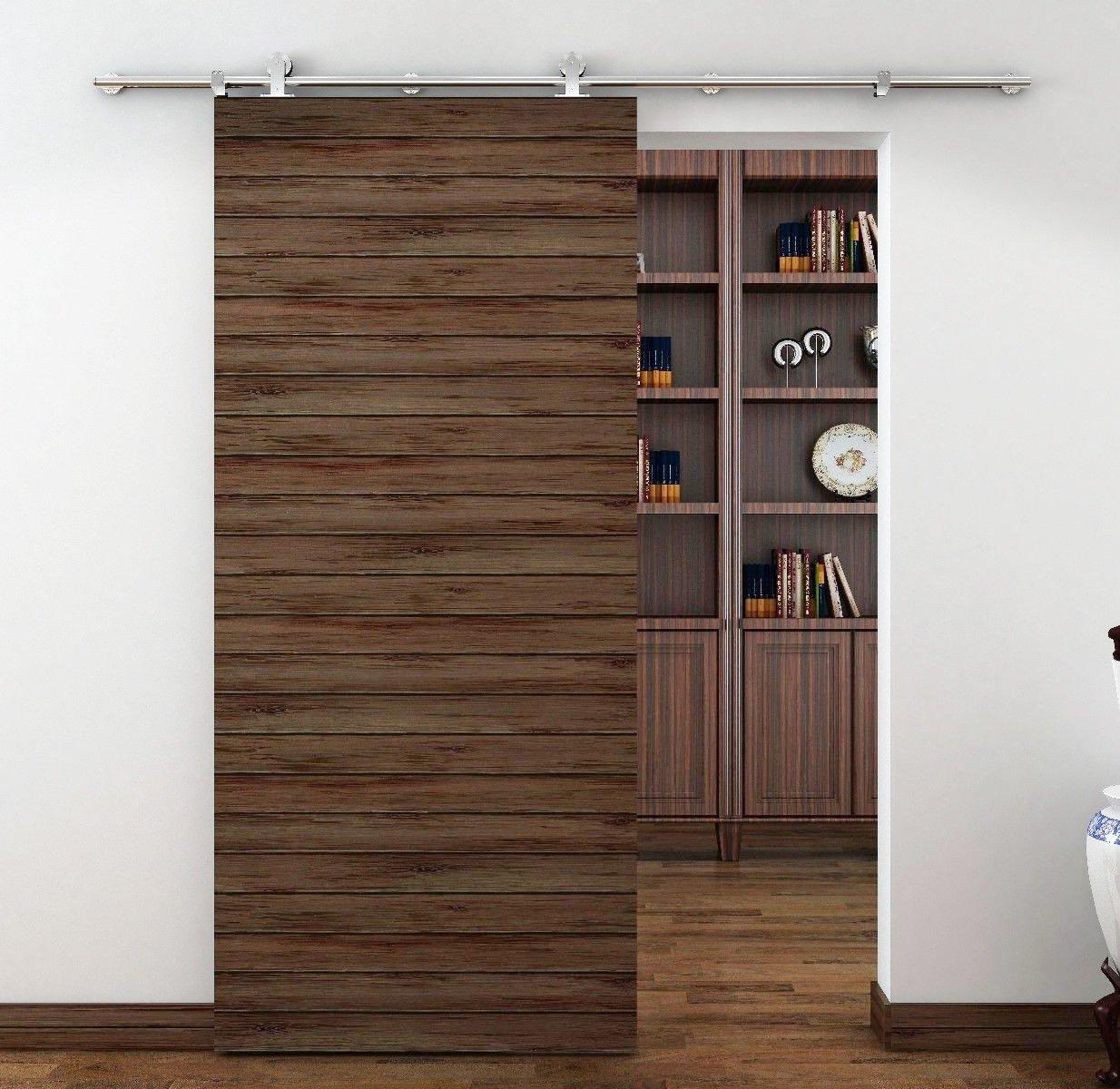 amoylimai TP-SS02 Sus304 - Mecanismo para puerta corredera estilo granero de acero inoxidable con acabado niquelado para puertas de zonas de almacenamiento, lavandería, salones, vestidores, etc.: Amazon.es: Bricolaje y herramientas