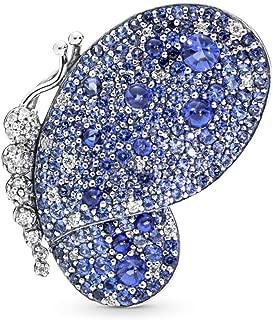 Dazzling Blue Butterfly 925 Sterling Silver Brooch - 697996NCB