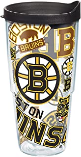 Tervis NHL Boston Bruins All Over Tumbler with Wrap and Black Lid 24oz, Clear