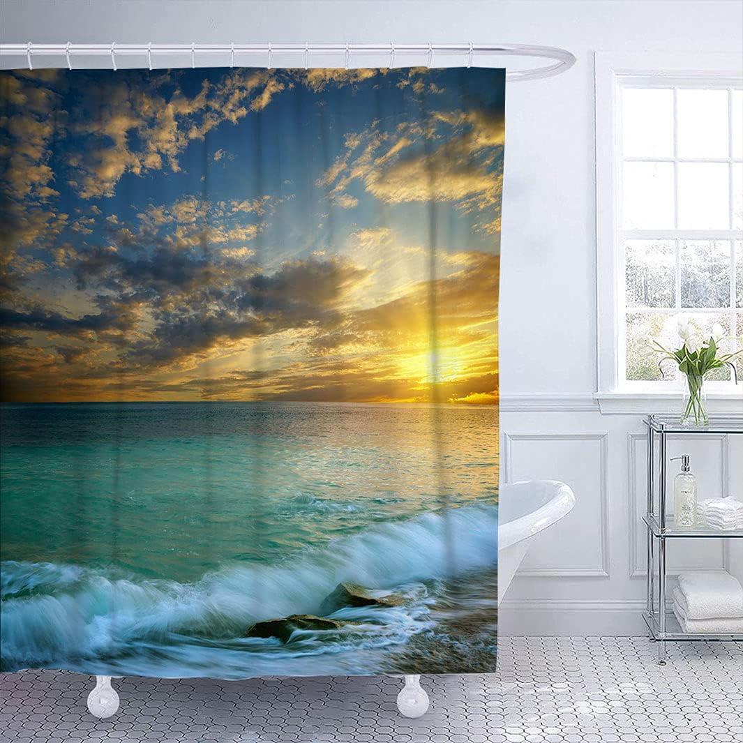 Ocean Decor Shower Curtain with New life Ultra-Cheap Deals Seascape Transverse of Suns Hook