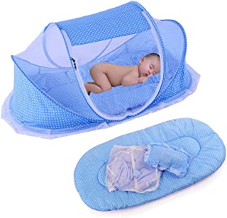 KooJoee Foldable Baby Travel Pop-up Bed Crib, Portable Infant Mosquito Net Tent Cots with Mattress Pillow for 0-24 Months - Blue