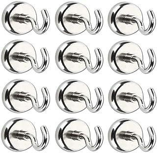 ZFYQ Ganchos Magnéticos, 12 pzas 16MM Imanes con Gancho, 5.5KG imanes ultra potentes ganchos, Pared para los Accesorios de Cocina Almacenamiento