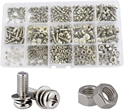 Sems Pan Round Head Screw Nut Lock Flat Washer Metric Threaded Phillips Cross Recessed 304 Stainless Steel Combined Machine Screw Bolt 400pcs M2 M2.5 M3 M4 M5 Assortment Kit Set