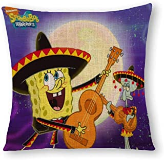 Rod Kent Linen (Flax) Pillowcase Soft Simulated Hemp Pillowcase Home Soft and Cozy Pillowcase Bedroom car Cushion Cover Spongebob Squarepants Guitar Squidward Tentacles 18-Inch(45x45cm)