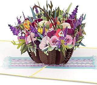 PaperCrush® Pop-up gratulationskort med korg med färgglada blommor – 3D-blomkort för flickvän eller mamma (födelsedagskor...