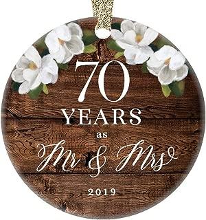 Christmas 2019 Tree Ornament 70th Seventieth Platinum Wedding Anniversary Ceramic Collectible 70 Seventy Years Married Pretty Rustic 3