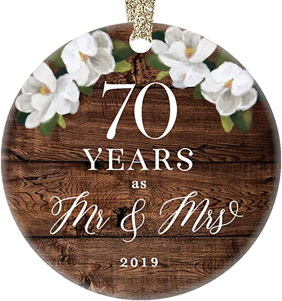 Christmas 2019 Tree Ornament 70th Seventieth Platinum Wedding Anniversary Ceramic Collectible 70 Seventy Years Married Pretty Rustic 3 Flat Holiday Porcelain Keepsake With Gold Ribbon Free Gift Box