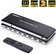 Univivi HDMI Switch 4k@60Hz HDMI 2.0 Switch 7 Port 7x1 HDMI Switcher Hub Box Support 4Kx2K Ultra HD 3D with Remote Control and Power Adapter
