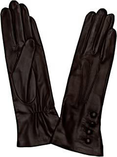 Dents Womens Rose Silk Lined Leather Gloves - Mocca