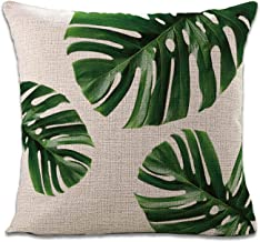 Sinpooo Green Leaves Decorative Throw Pillow Covers,18 x 18 inchs Linen Square Couch Pillow Covers,Plant Decor Throw Pillow Case for Home Couch Bedding Sofa Car
