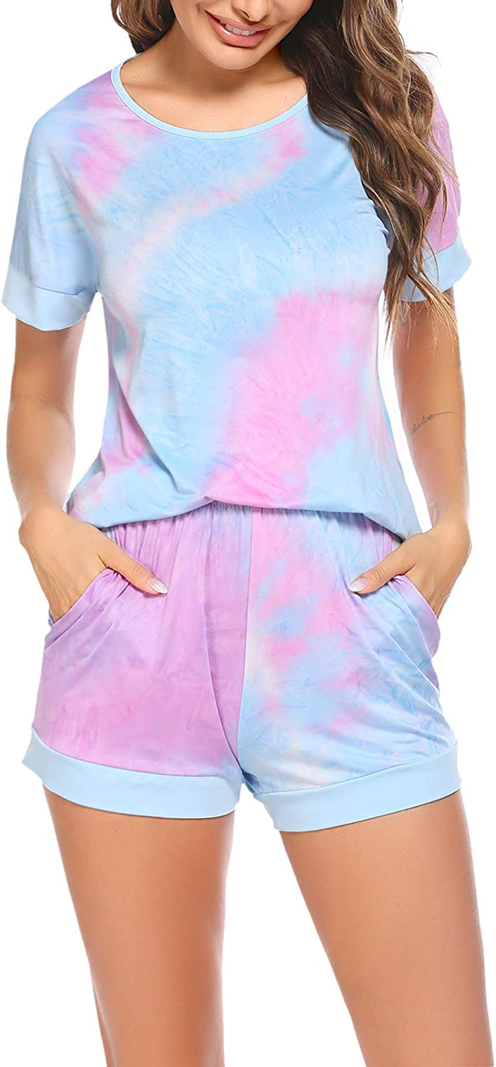 Hotouch Womens Tie Dye Printed Pajamas Sets Short Sleeve Tops with Shorts Lounge Set Casual Two-Piece Sleepwear Pj Sets