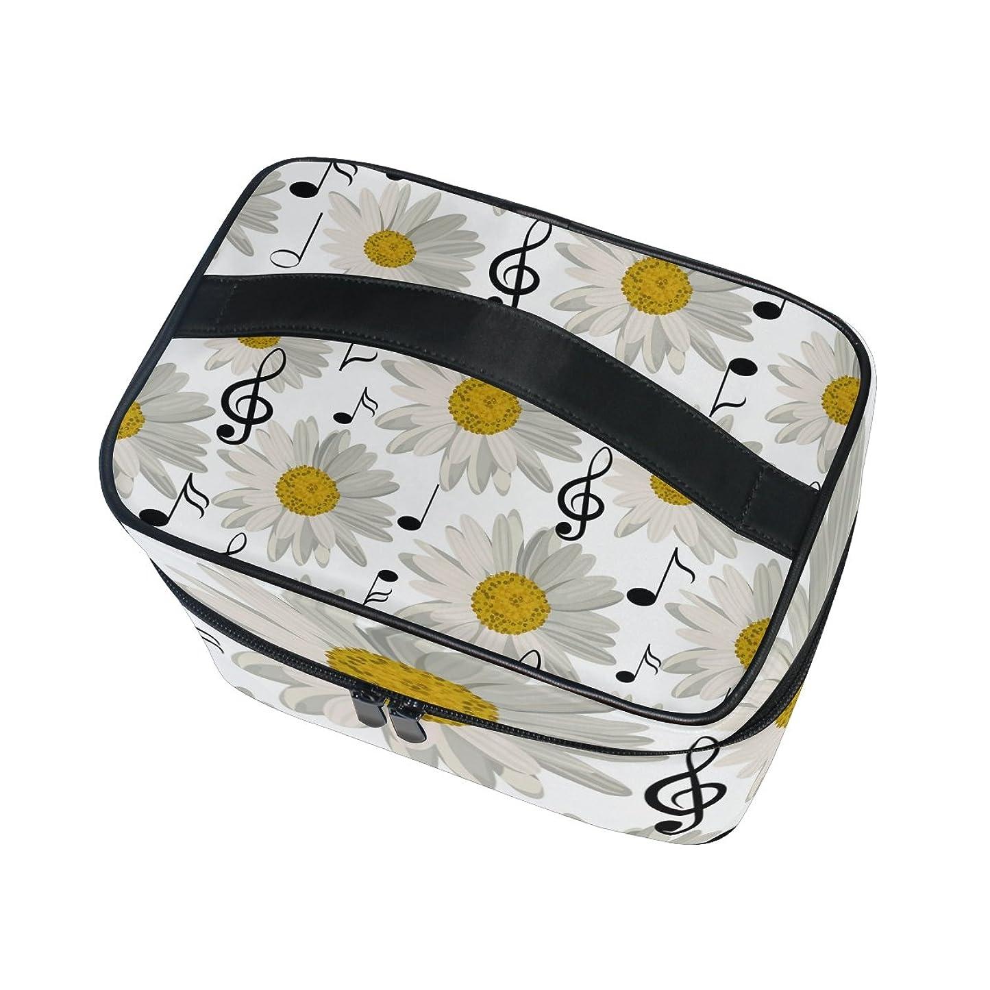 葉を拾うブランド名モンスターALAZA 化粧ポーチ 音楽柄 音符柄 化粧 メイクボックス 収納用品 ホワイト 大きめ かわいい