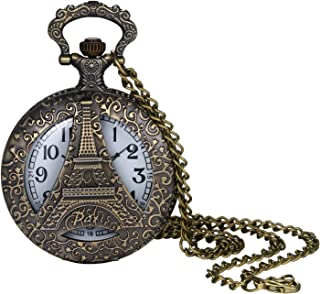 Pocket Watch for Men and Boys Vintage Bronze Eiffel Tower Decorative Hollow Case Arabic Numeral Dial Quartz Analog Pocket Watch with Chain for Halloween Costume Party Christmas