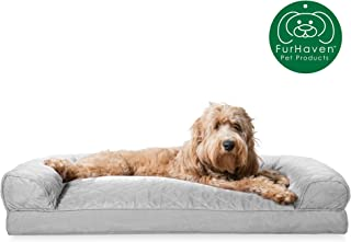Furhaven Pet Dog Bed | Quilted Pillow Cushion Traditional Sofa-Style Living Room Couch Pet Bed w/ Removable Cover for Dogs & Cats, Silver Gray, Large