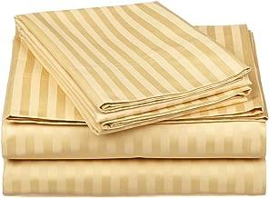 100% Egyptian Cotton 650 Thread Count Twin 3-Piece Sheet Set, Deep Pocket, Single Ply, Stripe, Gold