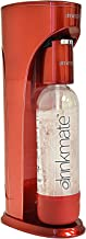 DrinkMate Sparkling Water and Soda Maker, Carbonates ANY Drink, with 1L Re-usable BPA-free Carbonating Bottle, Two 60L CO2 Cylinders and Patented Fizz Infuser - Royal Red