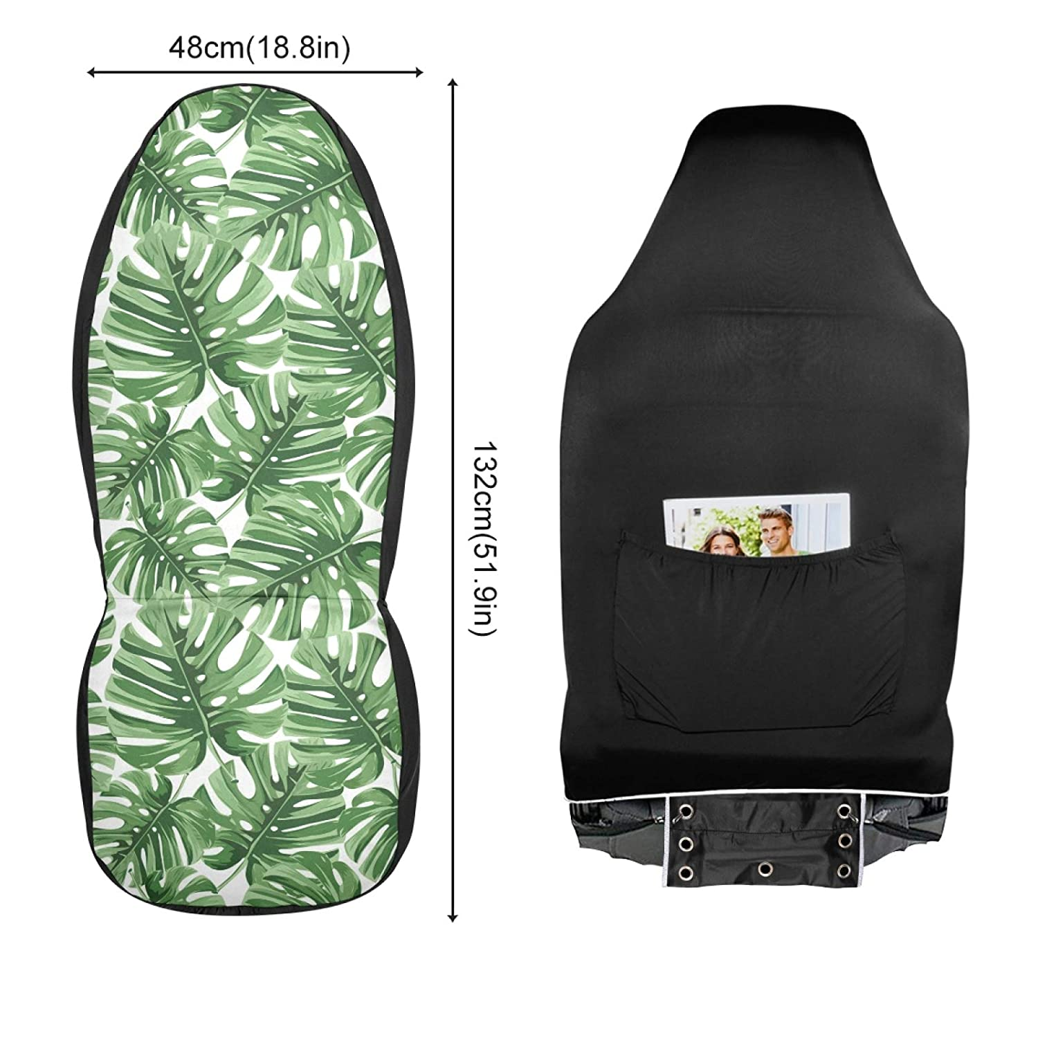Buy ALAZA Tropical Palm Leaves Monstera Car Seat Covers Front ...