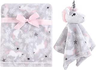 Hudson Baby Unisex Baby Plush Blanket with Security Blanket, Whimsical Unicorn 2 Piece, One Size