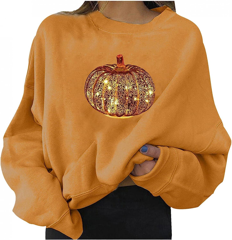 Halloween Sweatshirts for Women Casual Long Sleeve Halloween Pumpkin Graphic Fashion Crewneck Cute Pullover Sweater Shirt