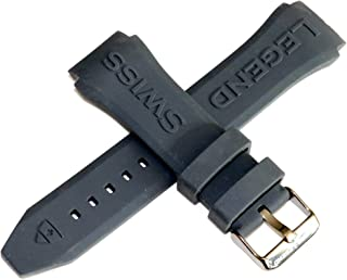Swiss Legend 26MM Grey Silicone Rubber Watch Strap & Gunmetal Stainless Buckle fits 46MM SL Eograph Watch