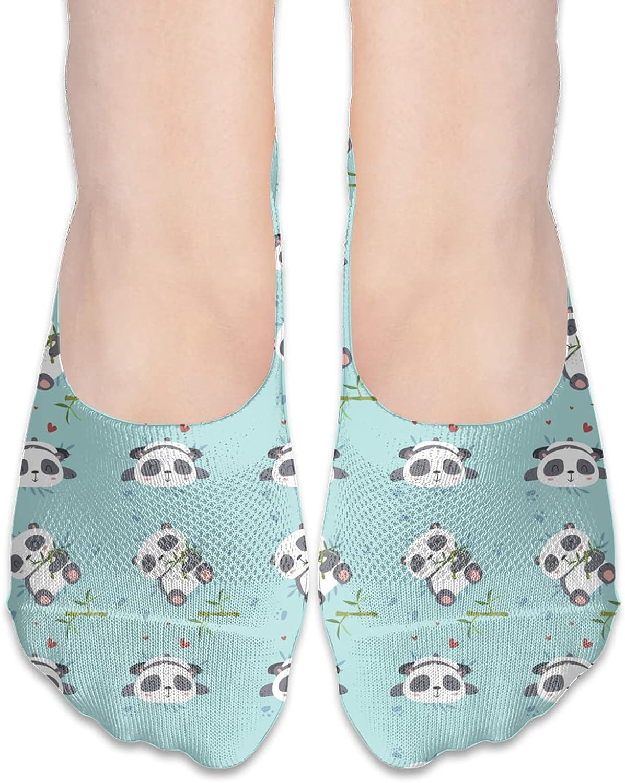 No Show Socks Women Men For Cute Panada Green Bamboo Flats Cotton Ultra Low Cut Liner Socks Non Slip