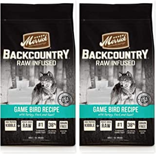 Merrick (2 Pack) Backcountry Raw Infused Game Bird Dry Dog Food 4 Lb. Ea. (Turkey, Duck, Quail) Grain-Free Kibble Plus raw Freeze-Dried Meat, Fish, or Poultry. 2 Bags = 8 Pounds Total.