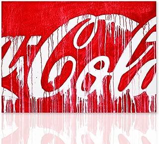 Impresión sobre lienzo Coca Cola homenaje Mario Schifano listo para colgar canvas con marco de madera hecho a mano - Diseño - Declea