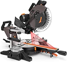 12-Inch TACKLIFE Sliding Compound Miter Saw, Double-Bevel Cutting (-45°-0°-45°), 15-Amp Miter Saw with Laser Guide, Extens...