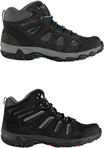 Karrimor Support Mid Chaussures Marche Juniors Garçons Randonnée Trekking Bottes Noir Rouge (UK4) (EU 36,5) (US5)