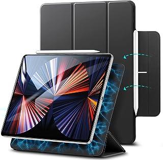 ESR iPad Pro 12.9 ケース 2020 磁気吸着 第二世代 Pencilのペアリングとワイヤレス充電に対応 オートスリープ ウェイク スリム シルク手触り 極薄軽量 落下衝撃保護 三つ折りスタンド ブラック