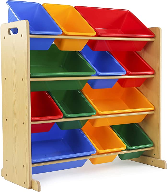 Tot Tutors Kids Toy Storage Organizer With 12 Plastic Bins Natural Primary Primary Collection